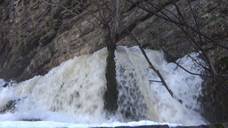 White waters of a torrential waterfall stock video footage Footage