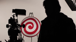 The Silhouettes Of The Participants Of The Film Crew stock footage
