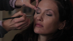 The Actress Doing Make Up On The Shot (close Up) stock footage