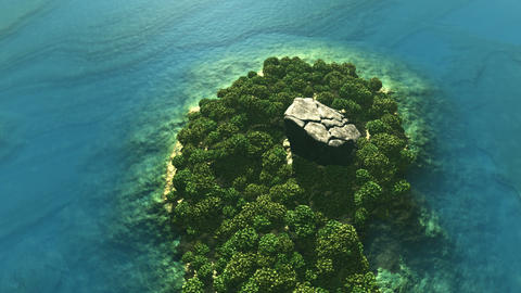 Aerial shot of tropical island with rain forest and rock Animation