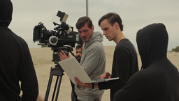 The Director and cinematographer while working on the film Footage
