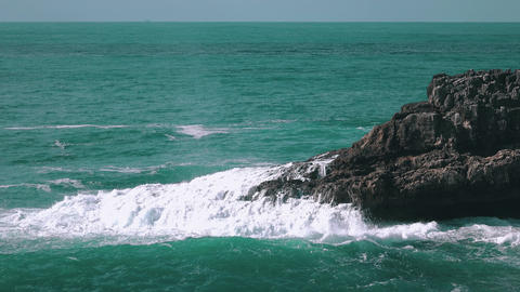 Ocean Waves Breaking on Rock Boca do Inferno Footage
