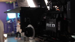 Professional Movie Camera On The Set In The Studio stock footage