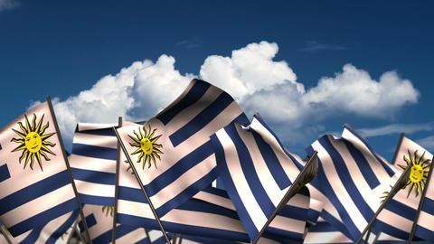 Waving Uruguayan Flags Animation