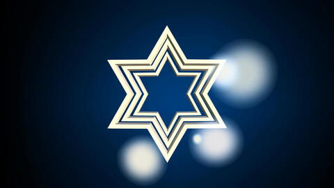 Outline David star, jewish symbole, zooming on dark background with blurry light CG動画素材