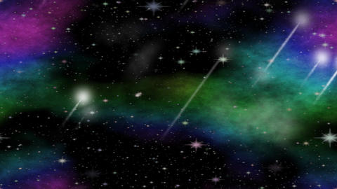 Meteorites flying through the universe with multicolored… Stock Video Footage