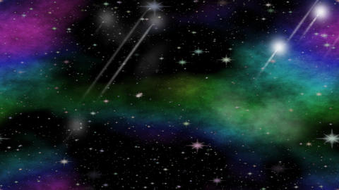 Meteorites flying through the universe with multicolored nebula group, video ani Animation