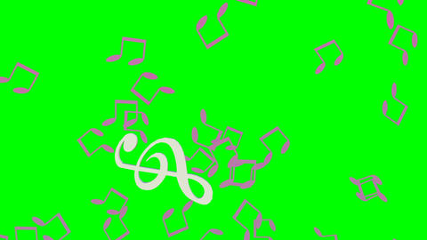 Music animation with treble clef swinging on green screen, flying notes, animate Animation