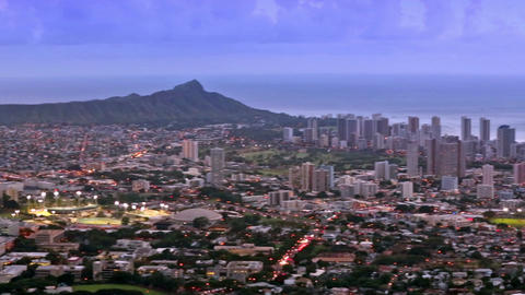 Honolulu city skyline, Waikiki and Diamond Head from Tantalus lookout Image