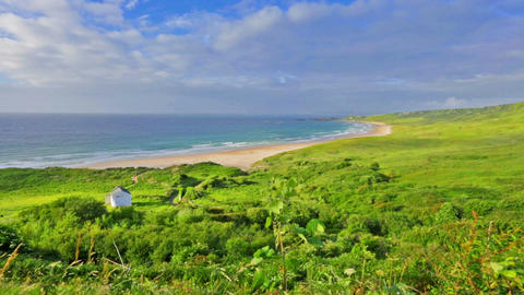 panorama of White Park Bay, Ballycastle, County Antrim, Northern Ireland Footage