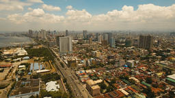Aerial city with skyscrapers and buildings. Philippines, Manila, Makati Footage