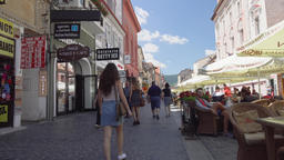 People in old town of Brasov, Romania Footage
