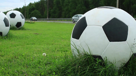 Huge soccer balls on the green field by the road ビデオ