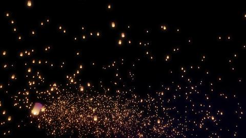 Sky Lanterns Fly Into The Night Sky 画像