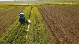 Tractor in the field mows the grass Footage