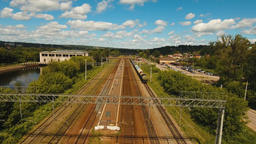 Aerial view over railway Footage