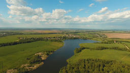 Aerial View.Landscape of the field, lake Footage