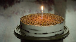 Birthday cake with candle Footage
