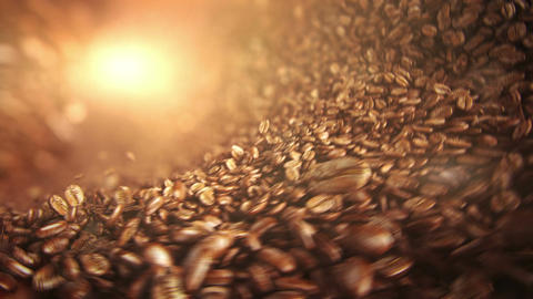 Roasted coffee beans falling wave Animation