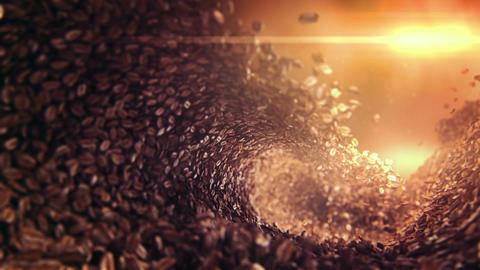 Coffee beans falling wave Animation