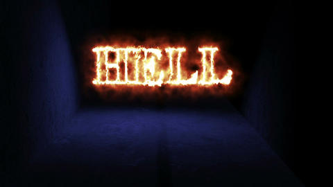 "walking in spooky space with low light and word ""hell in fire"" - Horror scene an Animation"