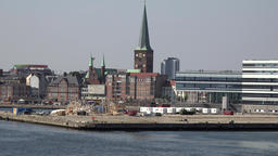 Denmark Scandinavia coastal city of Aarhus townscape seen from water side Footage