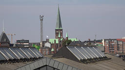 Denmark Scandinavia coastal city of Aarhus cathedral behind port buildings Footage