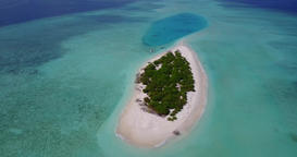v05383 Aerial flying drone view of Maldives white sandy beach on sunny tropical Live Action