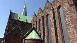 Denmark Scandinavia coastal city of Aarhus nave of catholic cathedral church Footage