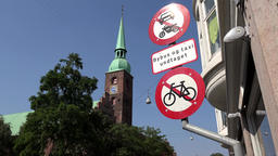 Denmark Scandinavia coastal city of Aarhus Church of Our Lady bell tower Image