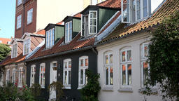 Denmark Scandinavia coastal city of Aarhus small houses with dormers Footage
