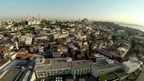Aerial view. Hagia Sophia in Istanbul. Saint Sophie Cathedral. Turkey. 4K Footage