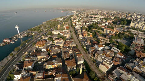 Aerial view. The center of Istanbul. Old city. Coastline. Turkey. 4K Footage