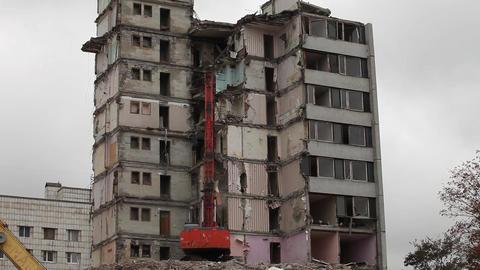 Timelapse demolition machine Stock Video Footage