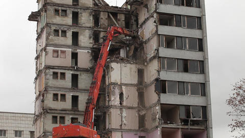 demolition of buildings Stock Video Footage