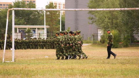 Military Training of Chinese Students 13 Stock Video Footage