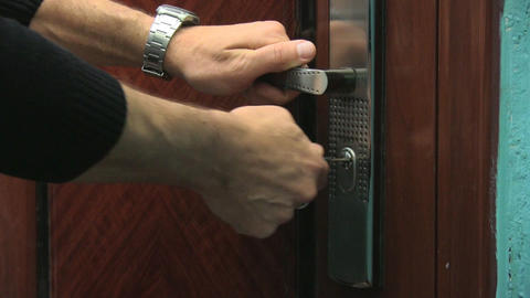 opening the door Stock Video Footage