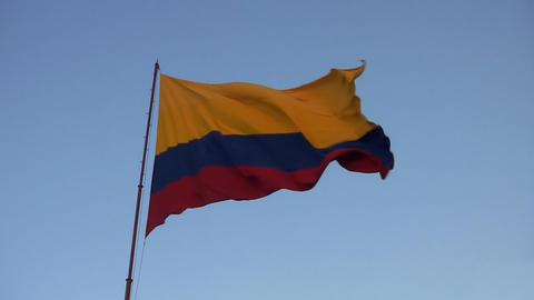colombian flag 02 Stock Video Footage