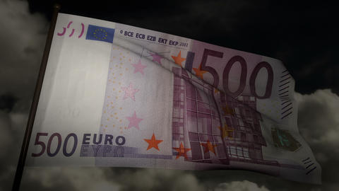 500 Euros bill flag 02 Stock Video Footage