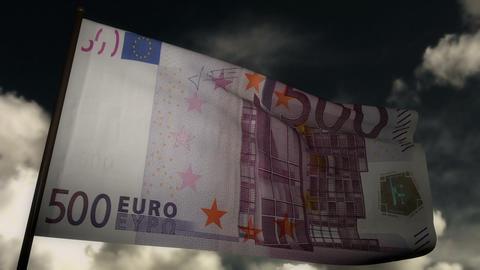 500 Euros bill flag 02 Stock Video Footage