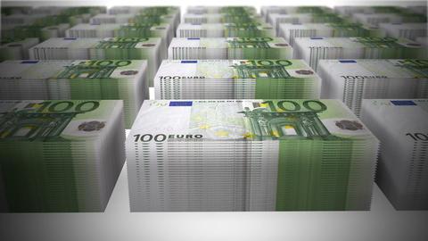 100euros piles 01 Stock Video Footage