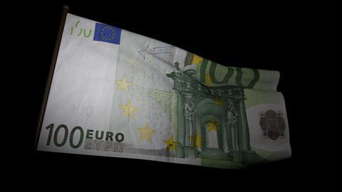 100 Euros bill flag 01 Stock Video Footage