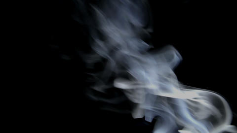 White Smoke on Black Background 1 Stock Video Footage
