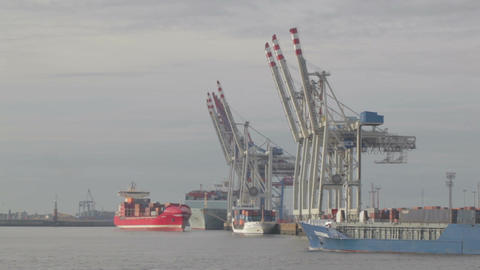 00201 1 MIN Cargo Port HAM Stock Video Footage