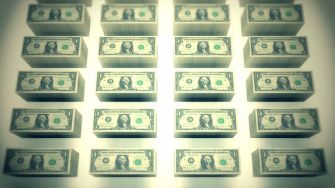 Dollar bills piles 02 Stock Video Footage