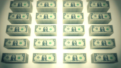 Dollar bills piles 02 Stock Video Footage