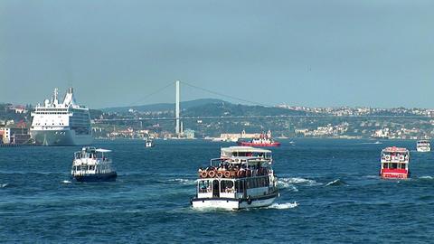 Bosphorus trafic Stock Video Footage