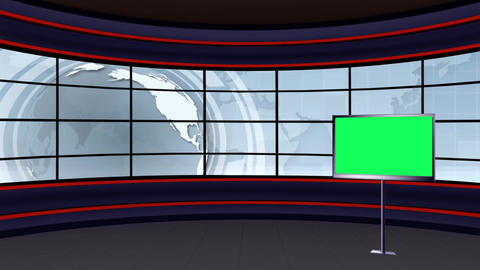 News TV Studio Set 101 - Virtual Background Loop Live Action
