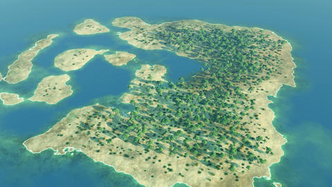 Aerial over a tropical archipelago Animation