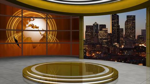 News TV Studio Set 105 - Virtual Background Loop Live Action